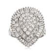 2.00 ct. t.w. Round and Baguette Diamond Teardrop Cluster Ring in 14kt White Gold