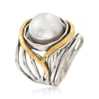 11.5-12mm Cultured Pearl Openwork Ring in Sterling Silver and 14kt Yellow Gold
