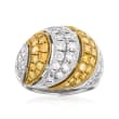 C. 1990 Vintage 2.52 ct. t.w. Yellow and White Diamond Dome Ring in Platinum and 18kt Yellow Gold