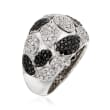 C. 1990 Vintage Bucherer 1.54 ct. t.w. Black and White Diamond Ring in 18kt White Gold