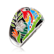 """Belle Etoile """"Macaw"""" Multicolored Enamel and .12 ct. t.w. CZ Ring in Sterling Silver"""