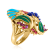 C. 1980 Vintage .85 ct. t.w. Multi-Gemstone Flower Mural Ring in 18kt Yellow Gold