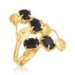 Black Onyx Open-Space Leaf Ring in 14kt Yellow Gold