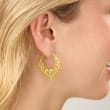 Italian 18kt Gold Over Sterling Floral Chevron Hoop Earrings