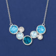 9.60 ct. t.w. Tonal Blue and White Topaz Bezel Necklace in Sterling Silver
