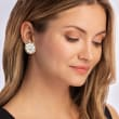 Italian Cameo Flower Earring Jackets with .20 ct. t.w. CZ Cluster Stud Earrings in 18kt Gold Over Sterling