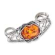 Amber Openwork Cuff Bracelet in Sterling Silver