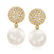 12-13mm Cultured South Sea Pearl and 2.05 ct. t.w. Diamond Drop Earrings in 18kt Yellow Gold