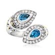 1.00 ct. t.w. Swiss Blue Topaz Bali-Style Bypass Ring with .70 ct. t.w. White Zircon in Sterling Silver with 18kt Gold