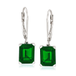 6.00 ct. t.w. Simulated Emerald Drop Earrings in Sterling Silver