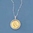 Italian Genuine 20-Lira Coin Pendant Necklace in Sterling Silver