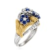 C. 1980 Vintage .75 ct. t.w. Diamond and .50 ct. t.w. Sapphire Floral Ring in 14kt Two-Tone Gold