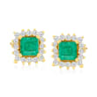 .70 ct. t.w. Emerald and .32 ct. t.w. Diamond Stud Earrings in 14kt Yellow Gold