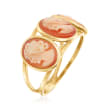 Italian Orange Shell Cameo Ring in 18kt Gold Over Sterling