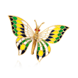 C. 1960 Vintage Multicolored Enamel Plique-A-Jour Butterfly Pin in 14kt Yellow Gold