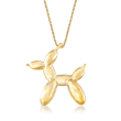 18kt Yellow Gold Over Sterling Silver Dog Balloon Style Pendant Necklace