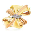 C. 1950 Vintage .60 ct. t.w. Diamond Bow Pin in 14kt Two-Tone Gold