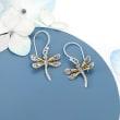 Two-Tone Sterling Silver Bali-Style Dragonfly Drop Earrings