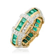 1.60 ct. t.w. Emerald and .75 ct. t.w. Diamond Eternity Band in 14kt Yellow Gold
