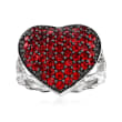 1.95 ct. t.w. Garnet Heart Cluster Ring in Sterling Silver