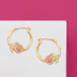 14kt Two-Tone Gold Floral Hoop Earrings
