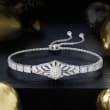 .50 ct. t.w. Diamond Floral Openwork Bolo Bracelet in Sterling Silver