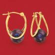 8-9mm Black Cultured Pearl Double-Hoop Earrings in 14kt Gold