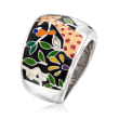 """Belle Etoile """"Serengeti"""" Black and Multicolored Enamel Ring with CZ Accents in Sterling Silver"""