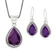 26.60 ct. t.w. Purple Sapphire Jewelry Set: Earrings and Pendant Necklace in Sterling Silver