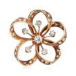 C. 1930 Vintage 1.40 ct. t.w. Diamond Flower Pin in 14kt Yellow Gold
