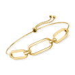 18kt Gold Over Sterling Paper Clip Link Center Bolo Bracelet