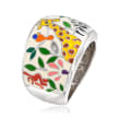 "Belle Etoile ""Serengeti"" Ivory and Multicolored Enamel Ring with CZ Accents in Sterling Silver"
