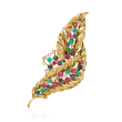 C. 1980 Vintage 3.40 ct. t.w. Multi-Gemstone and .30 ct. t.w. Diamond Feather Pin in 18kt Yellow Gold
