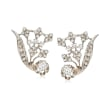 C. 1950 Vintage 2.25 ct. t.w. Diamond Floral Clip-On Earrings in 14kt White Gold