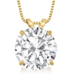 4.00 Carat CZ Solitaire Necklace in 14kt Yellow Gold