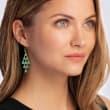 11.00 ct. t.w. Emerald Chandelier Earrings in 18kt Gold Over Sterling