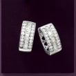 1.00 ct. t.w. Baguette and Round Diamond Hoop Earrings in Sterling Silver