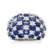7.00 ct. t.w. Sapphire and 1.50 ct. t.w. Diamond Checkerboard Ring in 14kt White Gold