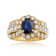 C. 1990 Vintage 1.05 Carat Sapphire and 1.40 ct. t.w. Diamond Ring in 18kt Yellow Gold