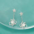 Cultured Pearl and .15 ct. t.w. Diamond Celestial Drop Earrings in Sterling Silver