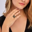 """Black Agate """"Good Fortune"""" Butterfly Ring in 18kt Gold Over Sterling"""