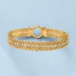 3.00 ct. t.w. CZ Byzantine Bracelet in 18kt Gold Over Sterling
