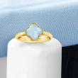 Italian 1.40 Carat Aquamarine Clover Ring in 14kt Yellow Gold