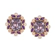 7.00 ct. t.w. Violet Spinel, 1.10 ct. t.w. Amethyst and .34 ct. t.w. Diamond Floral Stud Earrings in 14kt Rose Gold