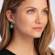 19.20 ct. t.w. Emerald Drop Earrings in 18kt Gold Over Sterling