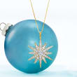 1.20 ct. t.w. Diamond Starburst Pendant Necklace in 18kt Gold Over Sterling