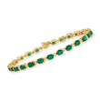 7.75 ct. t.w. Emerald and .37 ct. t.w. Diamond Tennis Bracelet in 14kt Yellow Gold