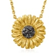 .15 ct. t.w. Black Diamond Sunflower Necklace in 18kt Gold Over Sterling