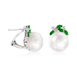 13-13.5mm Cultured Pearl, .60 ct. t.w. Tsavorite and .23 ct. t.w. Diamond Earrings in 14kt White Gold