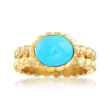 Italian Turquoise Double-Row Beaded Ring in 18kt Gold Over Sterling